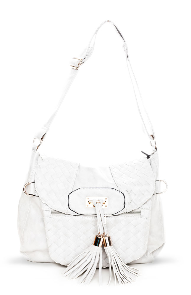 Versatil White Satchel Leather Bag