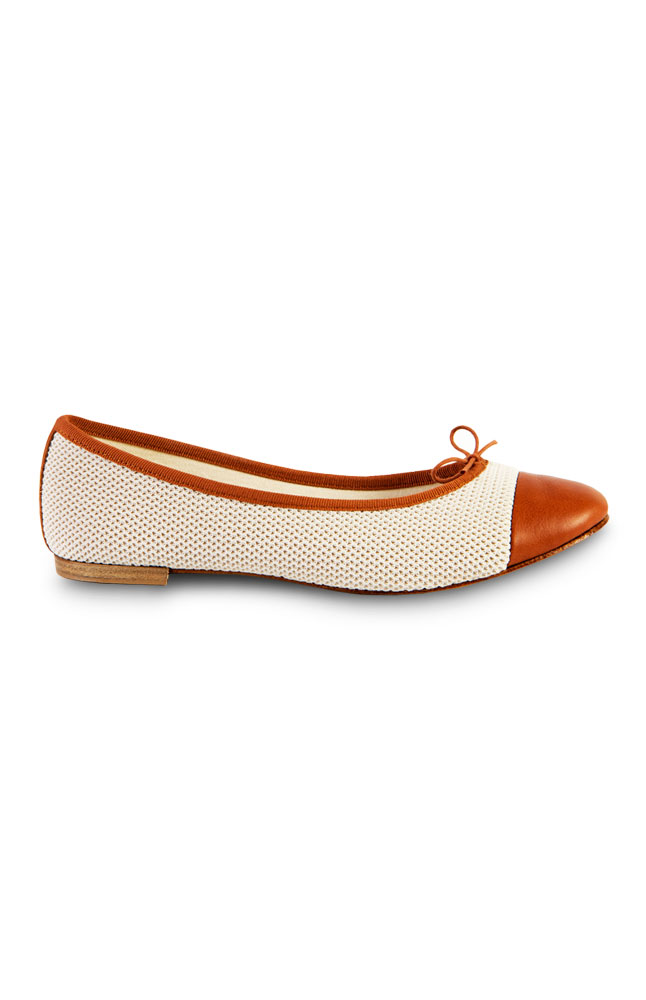 Mayflower White  &   Brown Patent Leather Flats