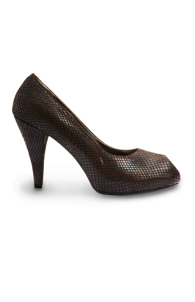 Mayflower Brown Peep-toe Stilettos