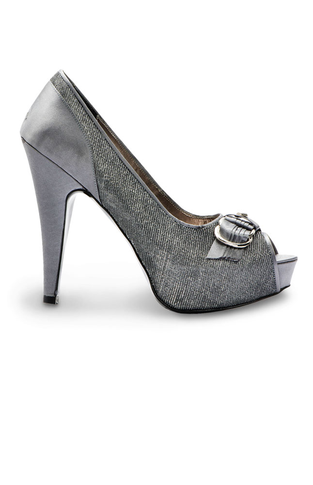 Emery Silver Open-toe Pumps