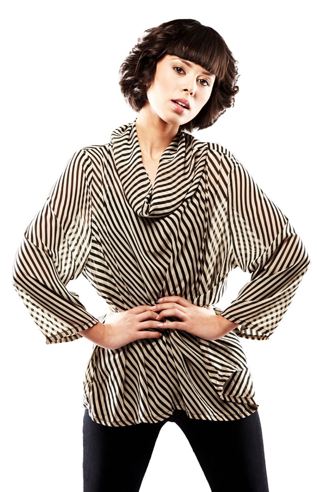 Gusso Striped Cowl Neck Top
