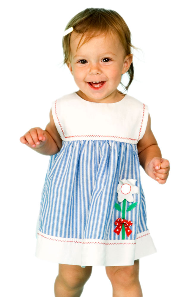 Hermitage Toddler Girls' Striped Dress with Flower